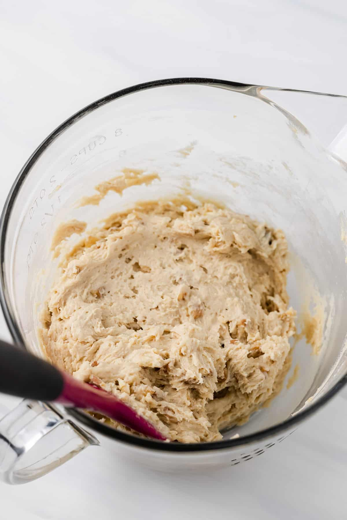Banana nut bread cookie batter in a mixing bowl