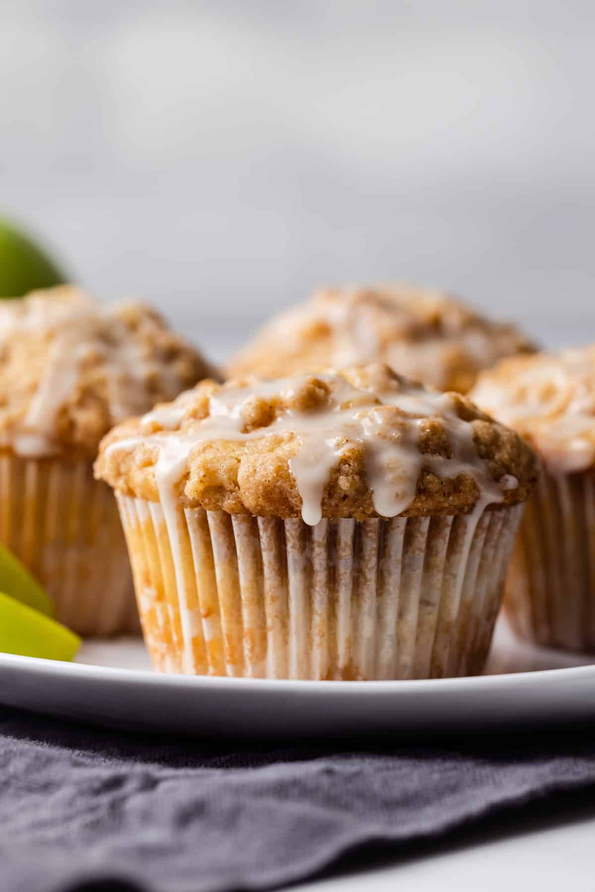Apple streusel muffins on a plate