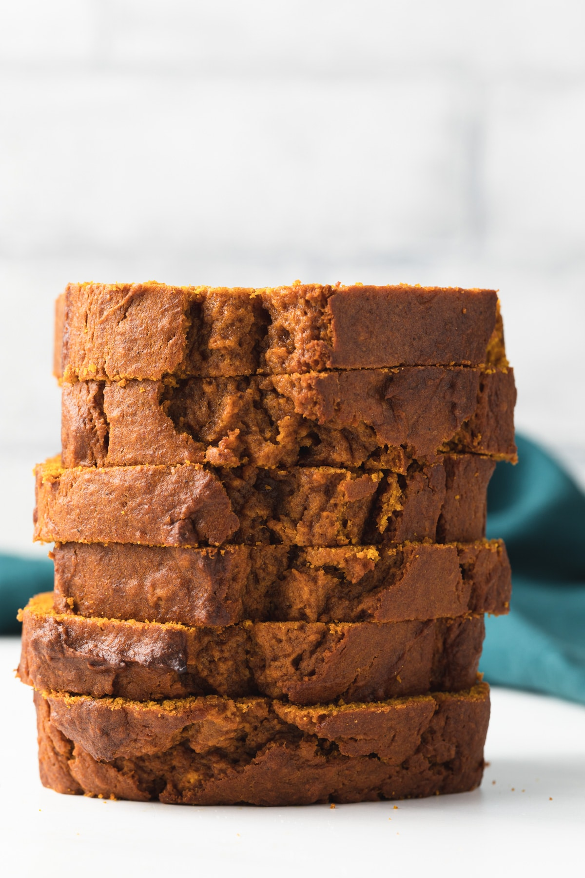 slices of pumpkin bread stacked six high