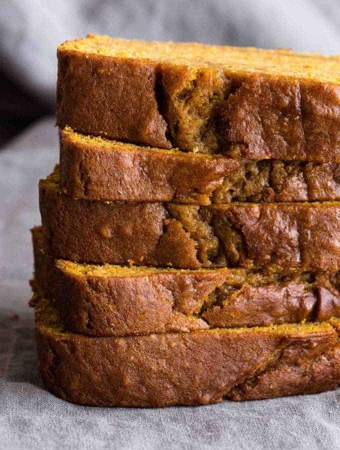 A classic Pumpkin Bread that is moist and tender with notes of warm cinnamon, nutmeg, cloves and vanilla.