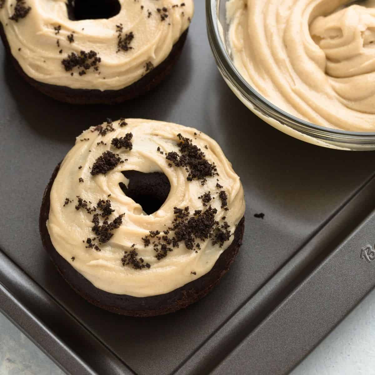 Baked By An Introvert: Baked Chocolate Donuts Recipe With Peanut Butter Frosting