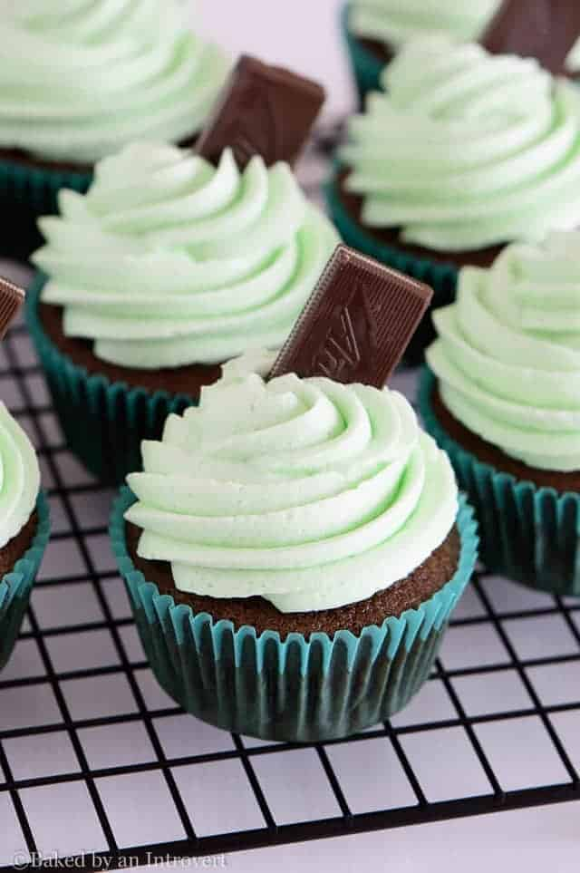 Andes Mint Cupcakes are the best homemade chocolate cupcakes topped with thick and creamy mint frosting. They taste just like the Andes mint candy!