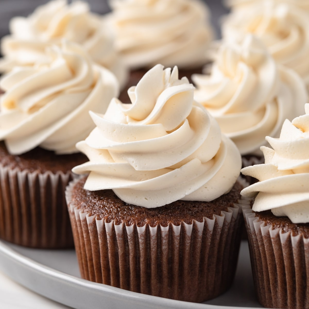 Close up of Dr Pepper Cupcakes