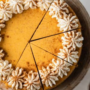 This creamy Pumpkin Cheesecake on a gingersnap crust will be a hit at your Thanksgiving dinner.
