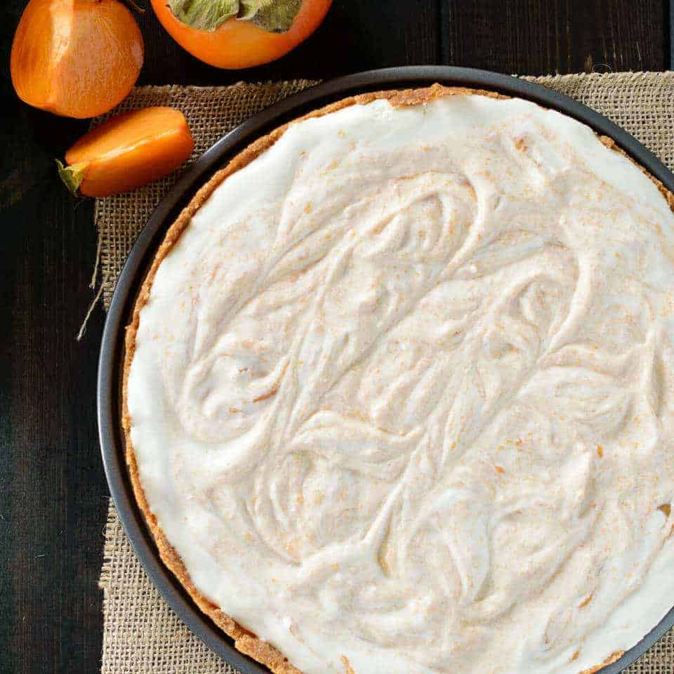 overhead view of Honey Yogurt Persimmon Tart