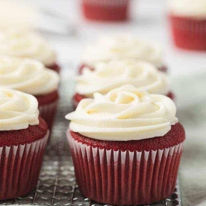 rich red velvet cupcakes with cream cheese frosting