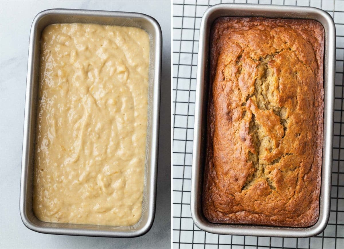 Unbaked and baked banana bread in loaf pans.