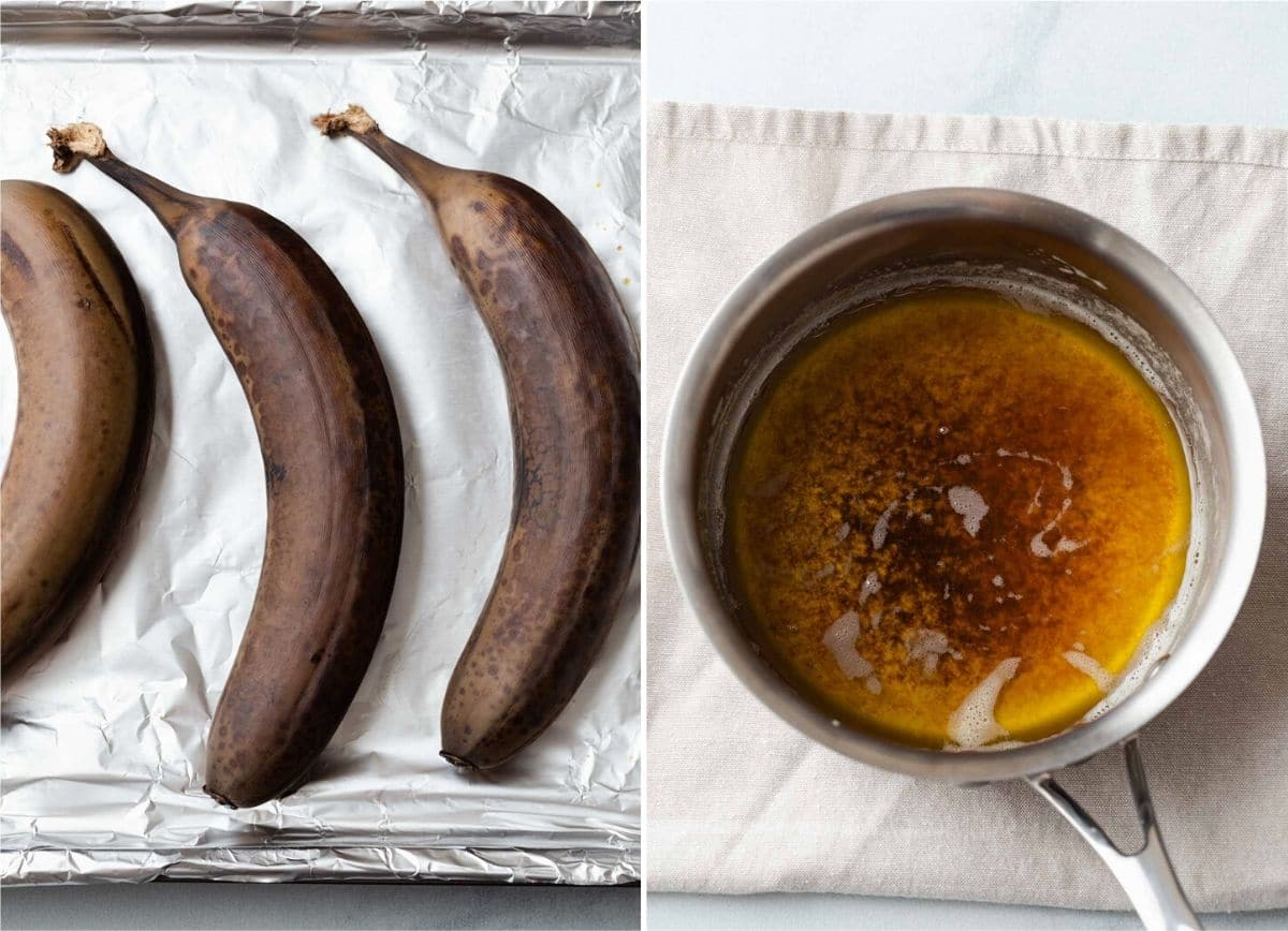Roasted bananas on a pan lined with foil and a pot of brown butter.
