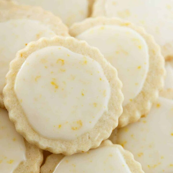 close up of iced Meyer lemon cookies