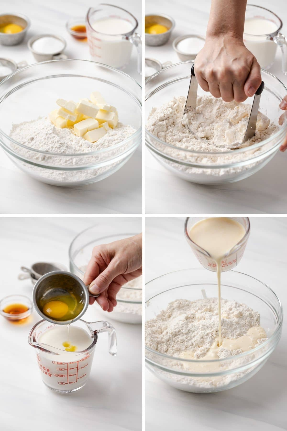 chopped butter in bowl with flour, hand blending butter into flour with pastry blender, egg being poured into cup of buttermilk, and buttermilk mixture being drizzled over flour in glass bowl