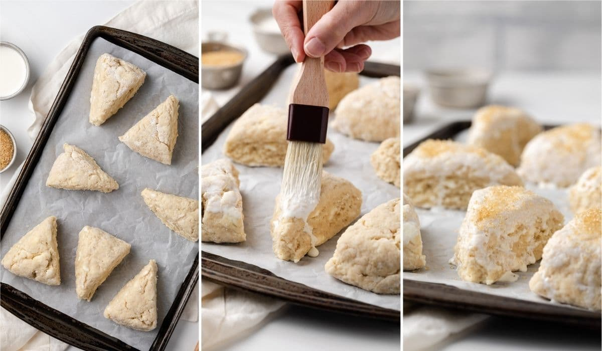 unbaked scones on baking sheet, cream brushed over unbaked scones, and coarse sugar sprinkled over unbaked scones
