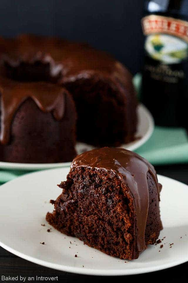 Made from scratch double chocolate cake with a rich chocolate glaze, this Irish Chocolate Coffee Bundt Cake is the ultimate St. Patrick's Day treat.