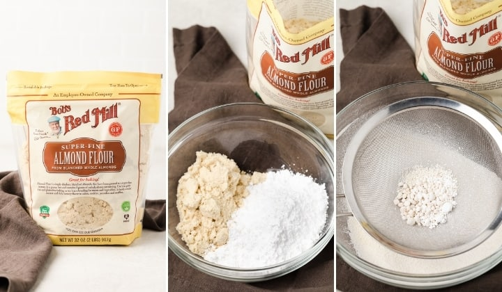 process shots for sifting together almond flour and confectioner's sugar