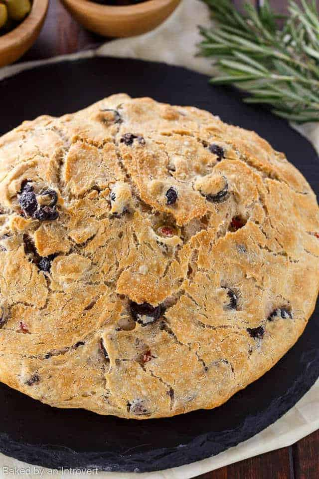 overhead view of rosemary olive beer bread