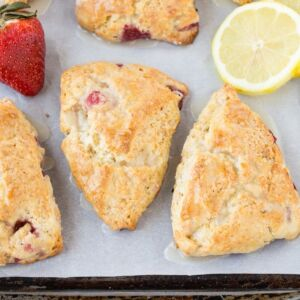 Lemon Cream Cheese Scones filled with fresh strawberries and zesty lemon to make the perfect spring breakfast.