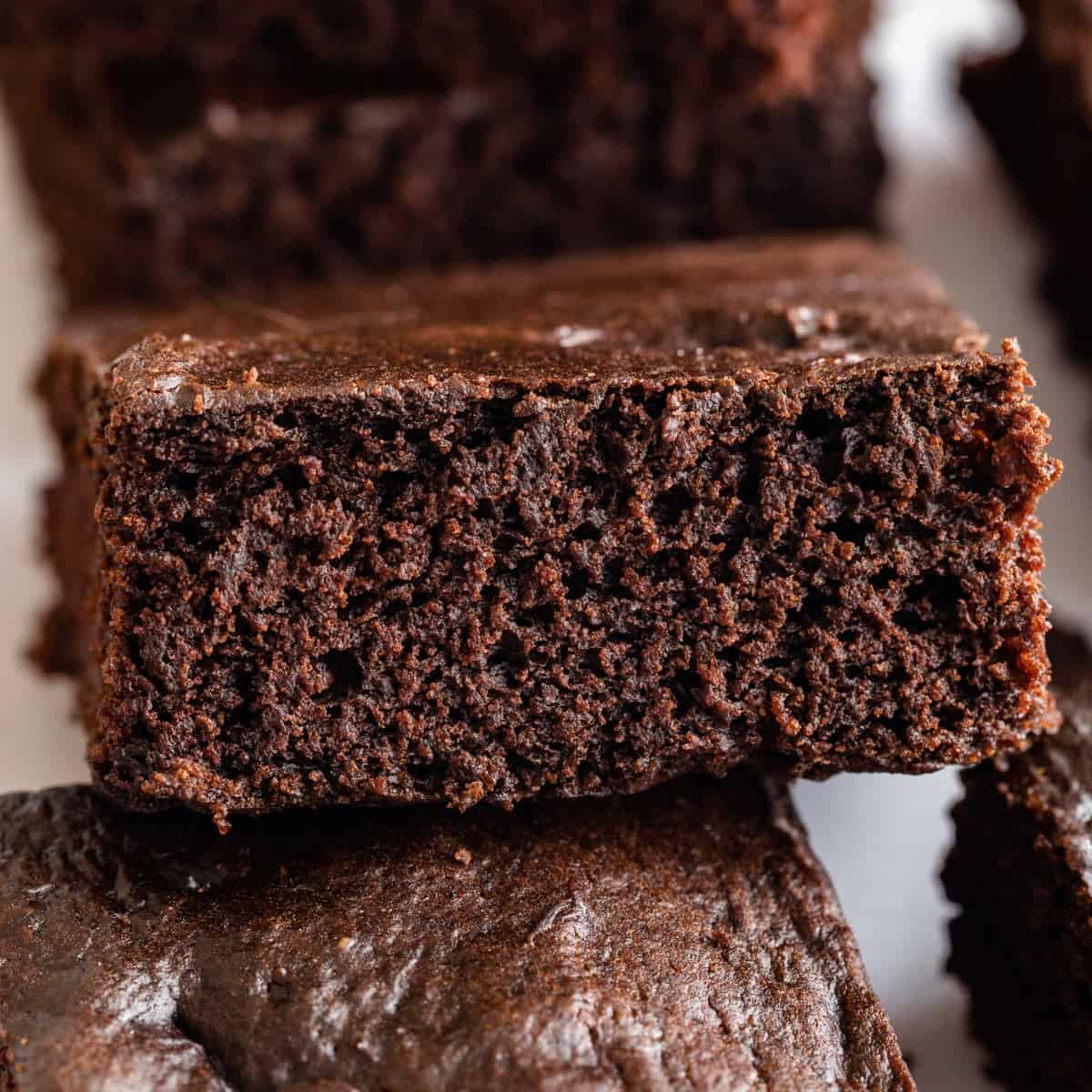 Close up of vegan brownies made with avocado, coconut sugar, and coconut milk