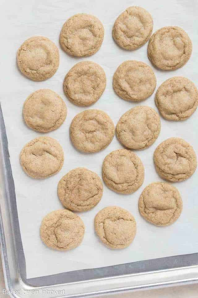 Overhead view of Chai Cookies on a baking sheet.