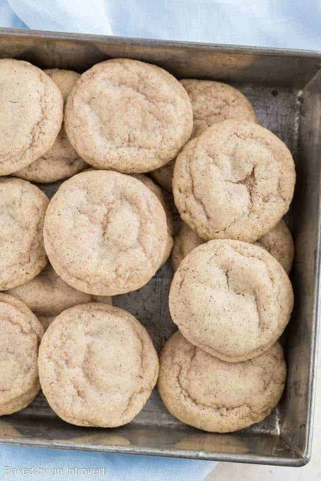 Overhead view of a pan of Chai Cookies.