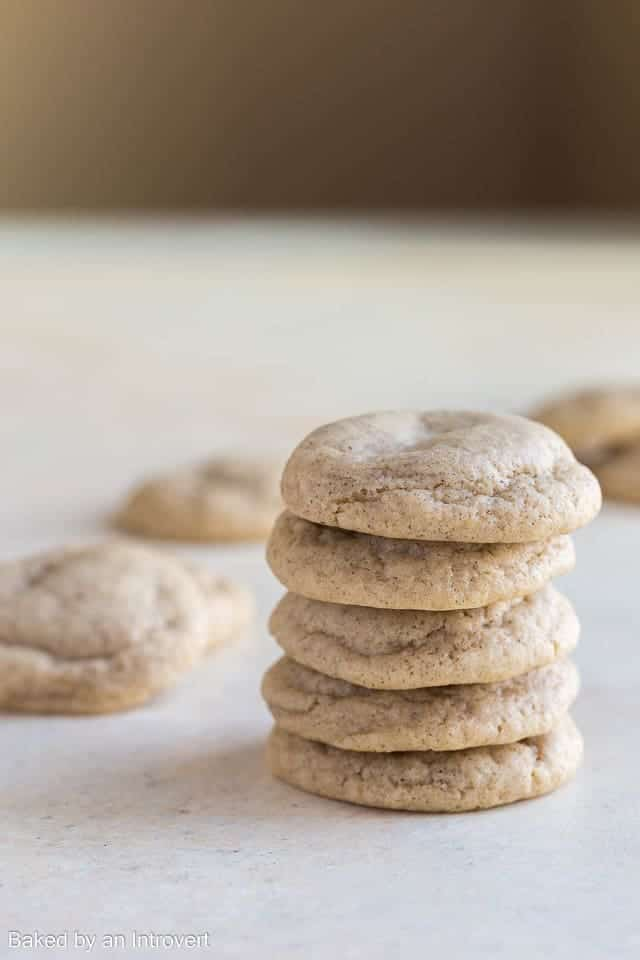 Side view of a stack of Chai Cookies.