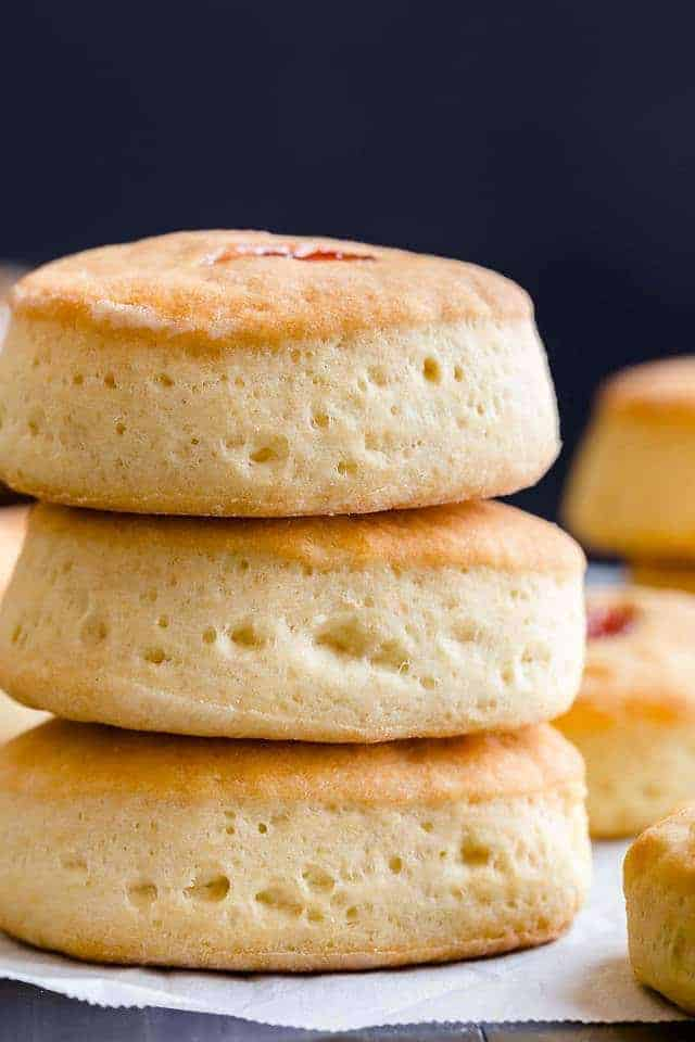 Buttery Jam Biscuits are practically no-fail! Each biscuit is supremely buttery and light with a pocket of jam nestled inside.