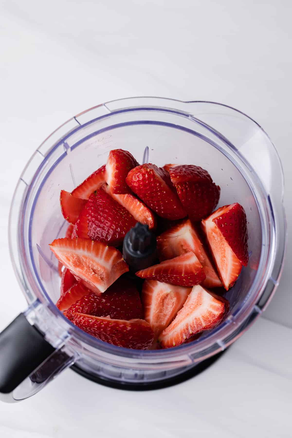 strawberries in a food processor
