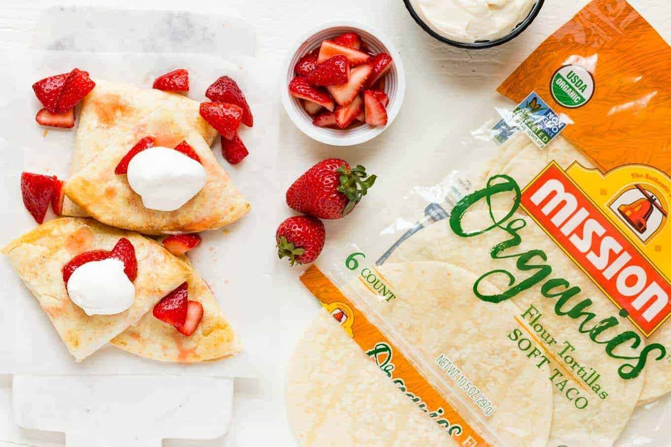 Strawberry Cheesecake Quesadillas with Mission Organics Flour Tortillas.