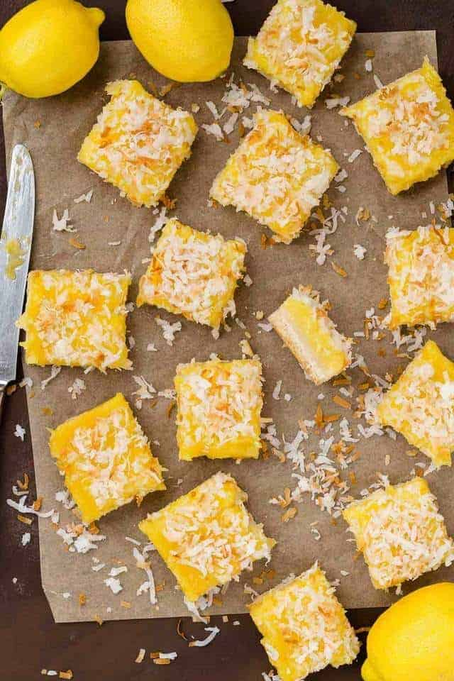 Overhead view of coconut lemon bars cut into slices.