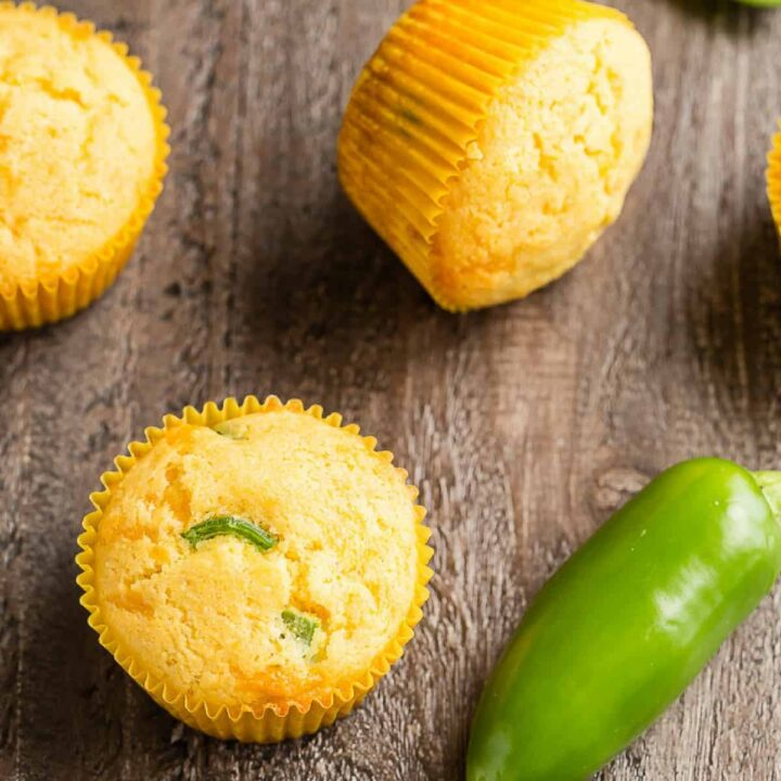 Angled view of Cheddar Jalapeño Cornbread Muffins.