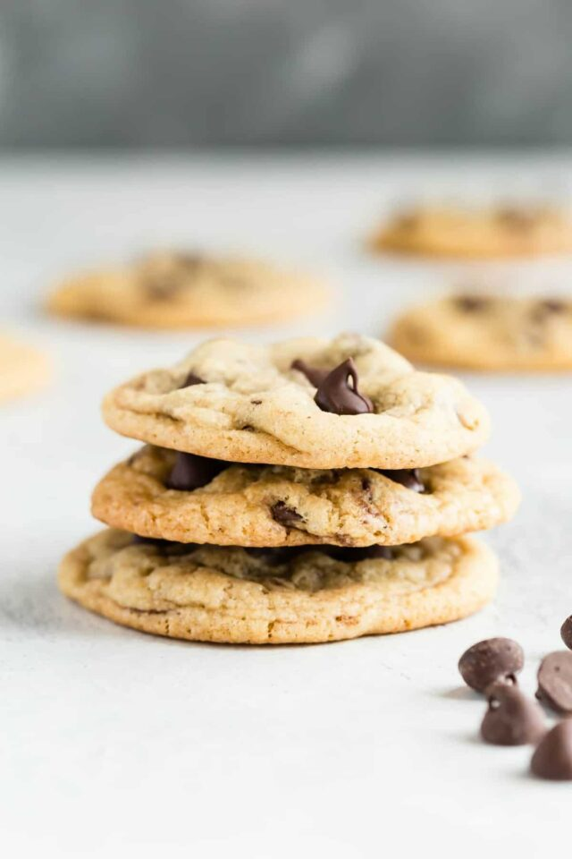 Side view of a stack of Chewy Chocolate Chip Cookies.