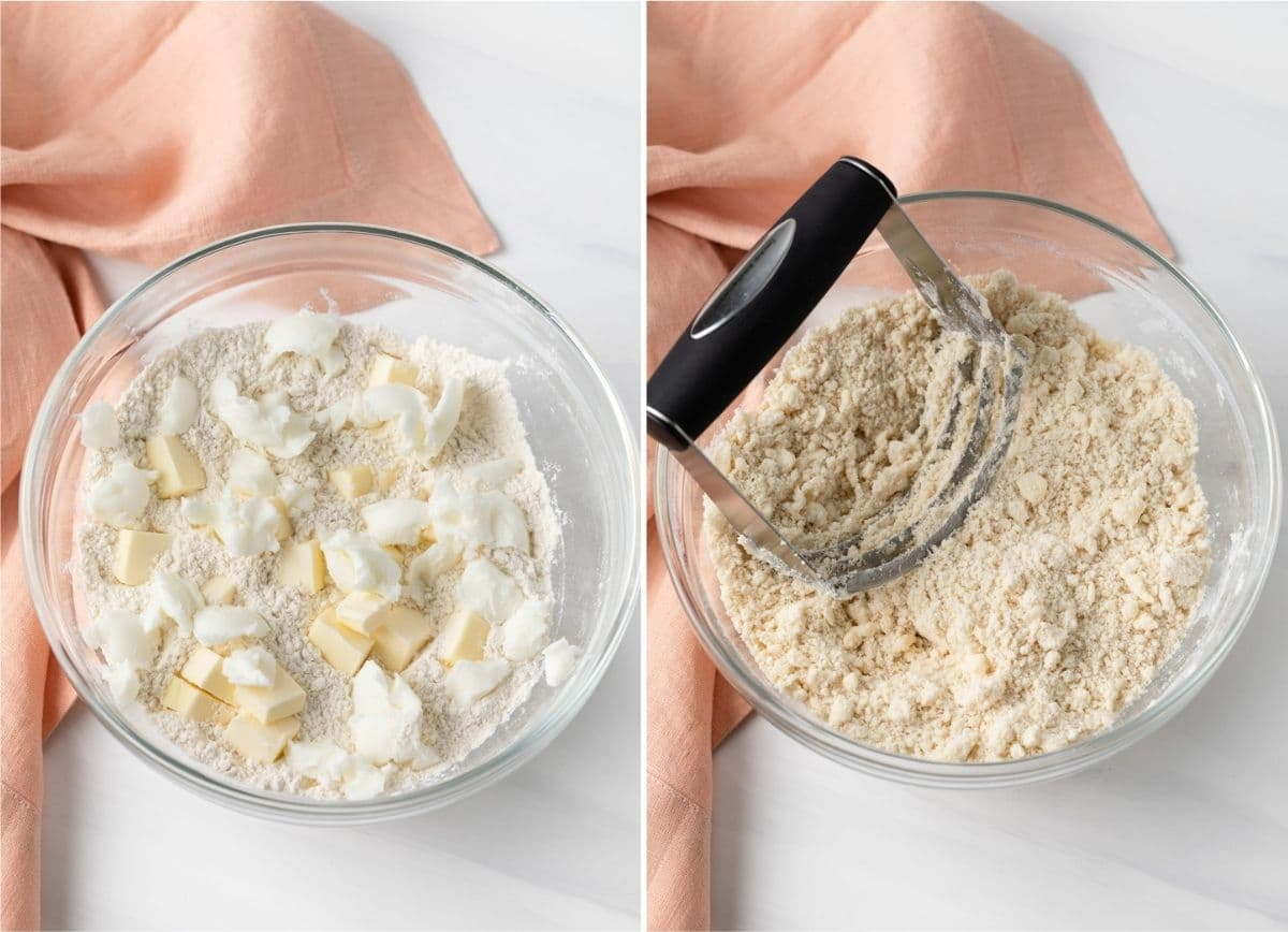 photo of butter and shortening in bowl with flour next to photo of butter and shortening cut into flour with pastry cutter