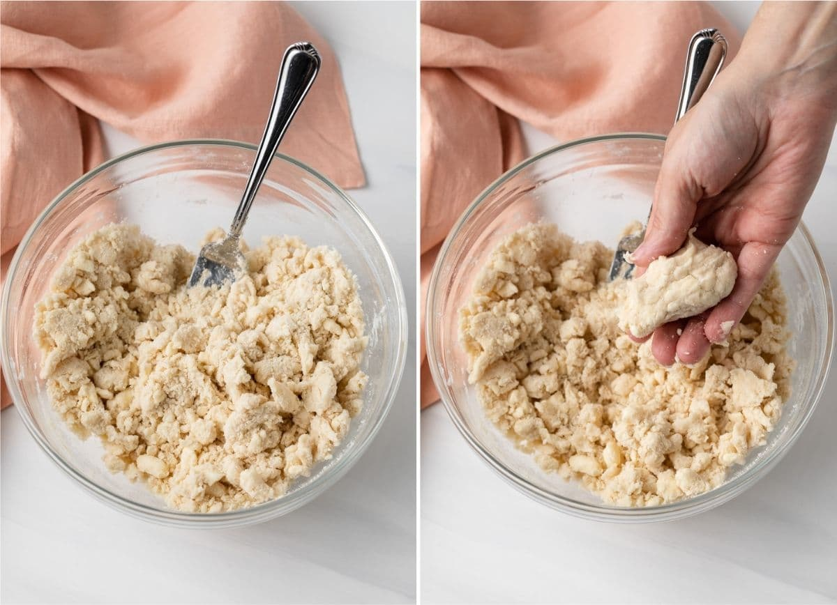 image of moistened pastry dough in bowl with fork next to image of hand squeezing dough together to show texture
