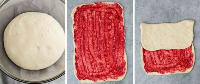Step by step images of how to make cranberry orange sweet rolls.