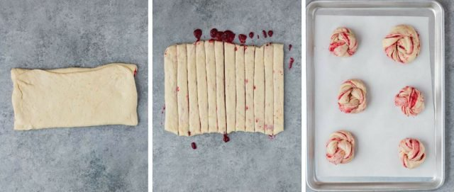 Step by step images showing how to fold, cut, and shape cranberry orange sweet rolls.