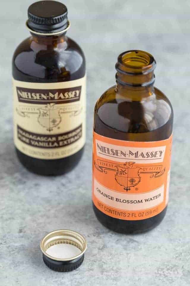Bottles of Nielsen Massey Orange Blossom Water and Pure Vanilla Extract.