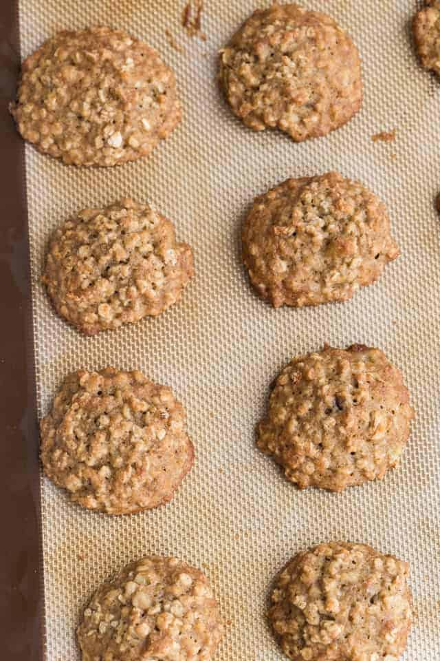 banana oatmeal cookies on baking sheet