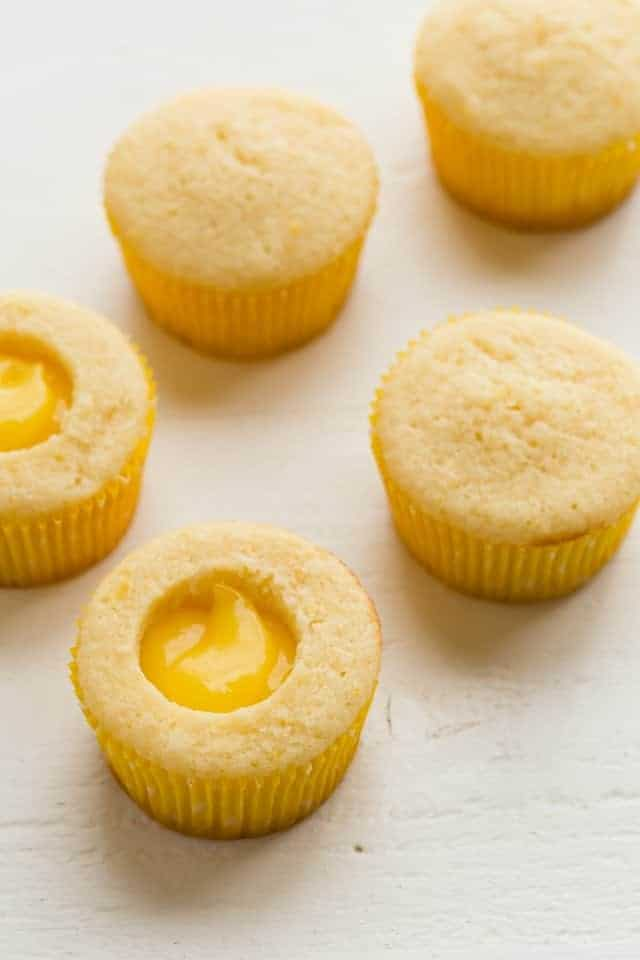 lemon cupcakes with lemon curd filling.