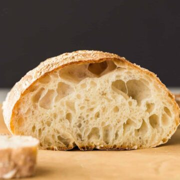 Front view of Ciabatta Bread cut in half so the inside is visible.