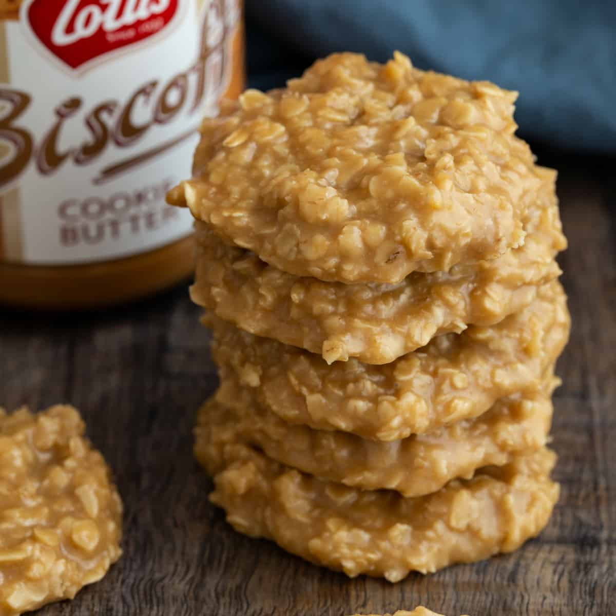 Close up view of a stack of cookie butter no bake cookies