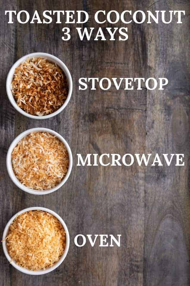 how to toast coconut flakes on the stovetop, in the microwave, and in the oven