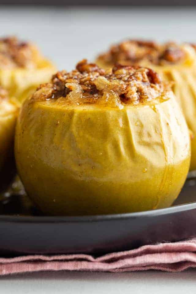 closeup of baked apples