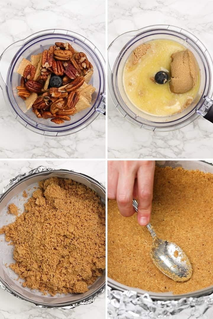 process shots for making graham cracker pie crust