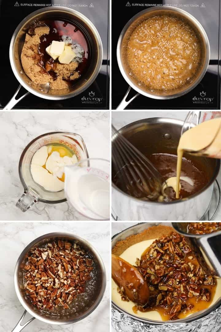 process shots for making pecan pie topping