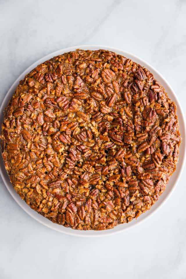 overhead view of baked pecan pie cheesecake