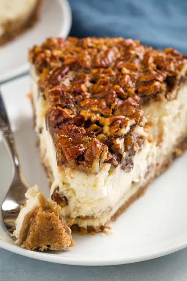 closeup of pecan pie cheesecake with a fork taking a bite out