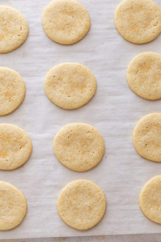 overhead view of basic butter cookies on a baking sheet