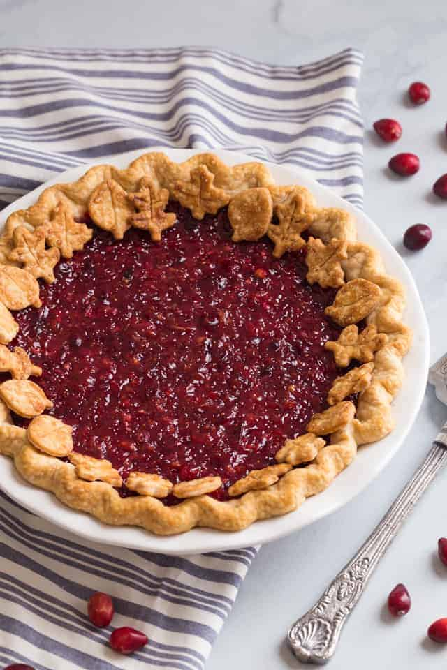 high angle view of a whole cranberry pie