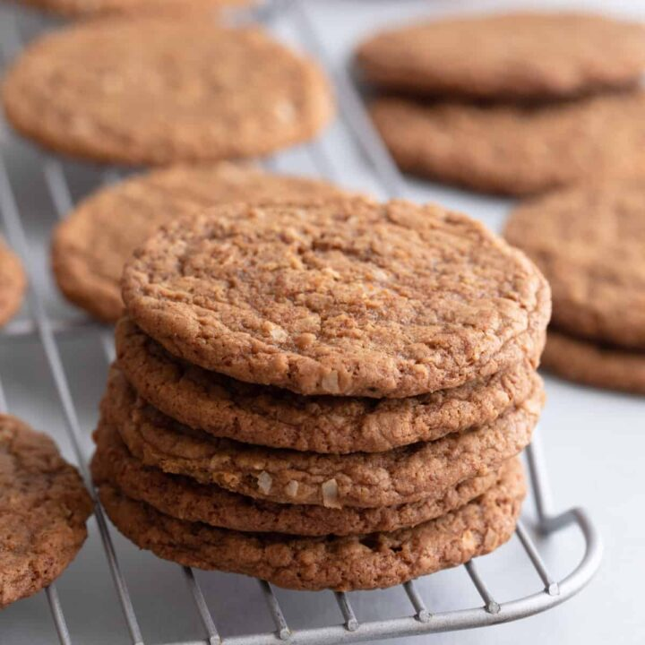 chewy coconut cookies on a wire rack
