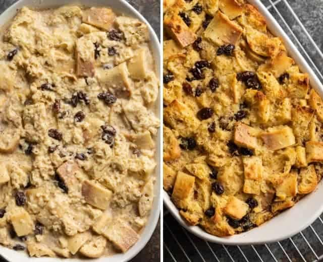 unbaked and baked bread pudding
