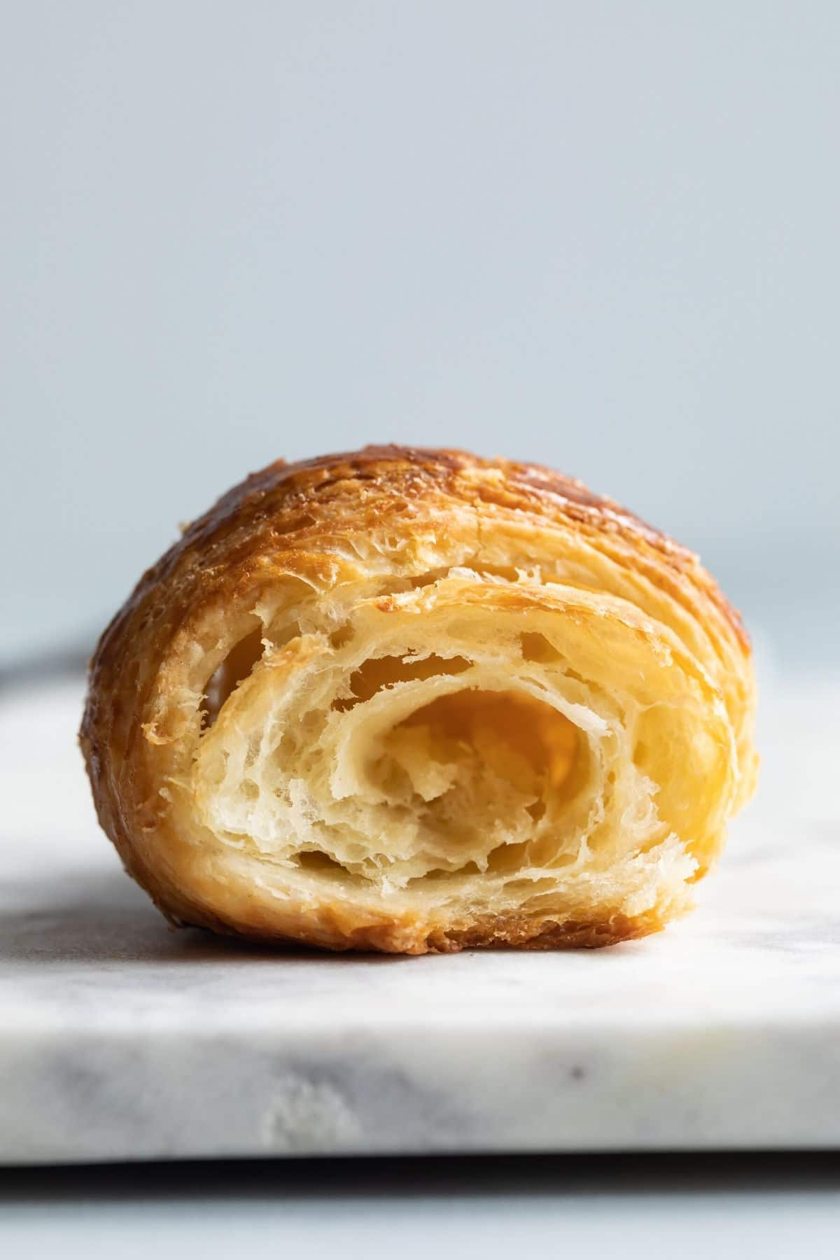 Close up of the inside of a croissant