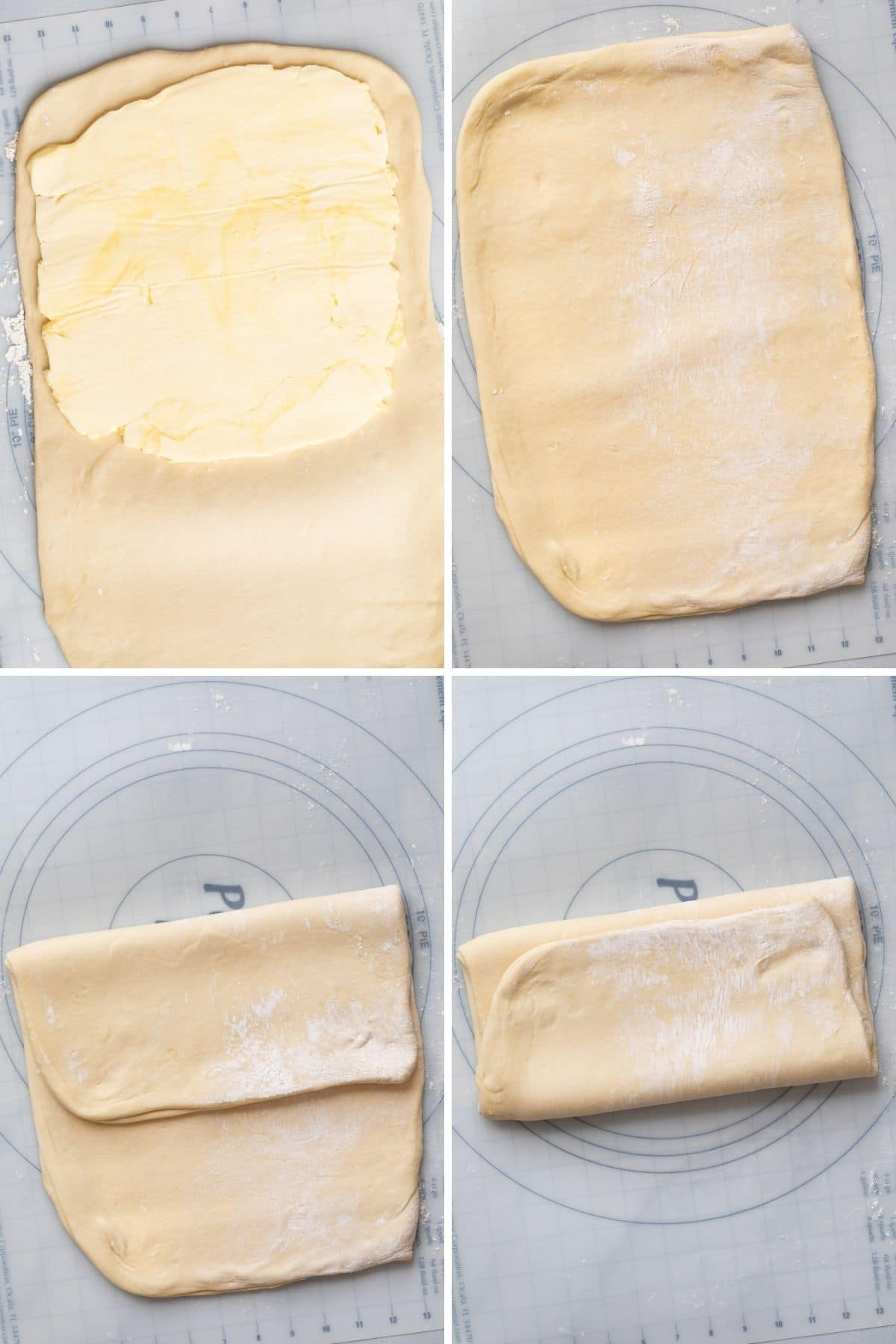 Step by step how to laminate croissant dough